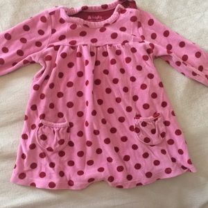 Pink and red polka dot velour dress